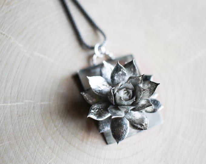 Cast Sterling Silver Succulent Necklace