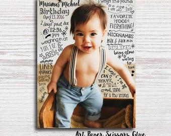 Custom Birthday Milestone Poster/ Birthday Typographic Poster/ Birthday Photo Prop/ Birthday Party Decor/ Baby's First Birthday