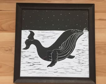 "Whale - 10""x10"" Original Print"
