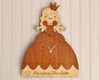 Wooden Princess Clock Personalized Name Cinderella Room Theme Wall Decor Princess Baby Nursery Girls Room Decor