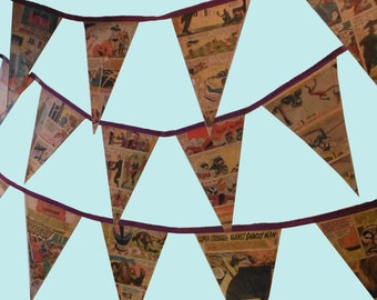 Handmade Vintage Upcycled Comic Strip Bunting - Various Sizes Superheroes