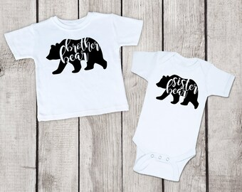 Brother Sister Outfits, Brother Bear Sister Bear outfit, brother sister bear outfit, matching sibling outfit