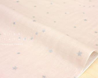 Japanese Fabric - Kobayashi starry double gauze - pale pink, metallic silver - 50cm