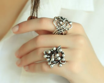 Boho Rings Bohemian Rings Boho Jewellery Silvered Rings