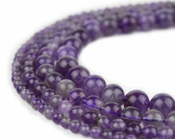 "Natural Amethyst Beads 4mm 6mm 8mm 10mm 12mm Polished Round 15.5"" Full Strand Wholesale Gemstones"