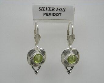 See-Thru Series- Silver and Stone Earrings w\/drop (Peridot)