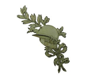 French Antique WW1 Soldier Grave Marker. Large Antique Bronze Plaque with Army Helmet and Laurel Leaves. Antique Military Collectible.