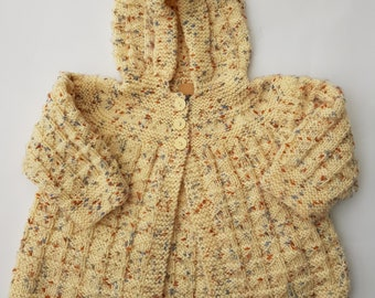 Hand knitted childrens hooded cardigan