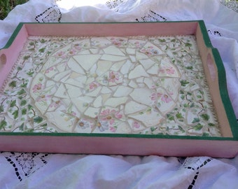 Vintage broken china MOSAIC FLORAL TRAY Shabby French Country Prairie Cottage Chic