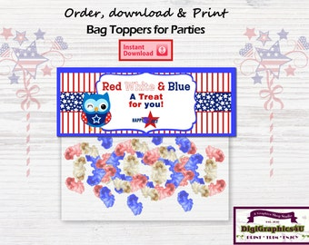 Fourth of July Celebration Sandwich Bag Toppers for Parties, BBQ's, Cookouts and more! - Instant Download