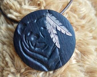 Jewelry for men - bear pendant - imitation wood ebony - polymer clay jewelry
