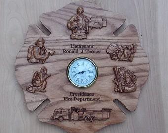 Firefighter, Wood Wall Clock, Maltese Cross, Firefighter Wood Carved, firefighter wedding gifts, retirement, graduation, wood carving clock