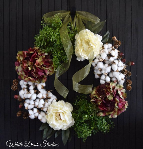 Cotton Hydrangea and Peony Summer and Fall Front Door Wreath
