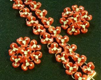 Celluloid Bracelet SET Red Celluloid Floral Bracelet Rhinestone Floral Bracelet Large Red Celluloid Floral Red Flowers Clip Earrings Vintage