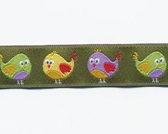 Khaki chicks Ribbon by the meter, fancy woven green jacquard Ribbon