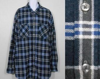 Vintage 1980s Haband Blue Plaid Flannel Button Up Shirt / Size XXT / 80s Retro Grunge Rockabilly shirt