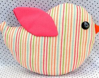 bird cushion softy toy for nursery, girl's room or playroom