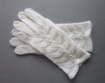 Hand Knit Gloves White Wool Gloves For Women Knit Fingrless Gloves Womens Gifts  Handmade Gloves Wool Gloves Fingerless Gloves