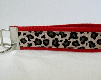 RED Cheetah Key Chain -Cheetah Key Fob - Wristlet - Animal Print Key Ring - Large Keychain