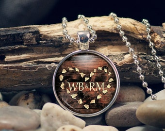 Personalized Heart Pendant in rustic style wood tone great for Valentine Bridal Sweetheart Necklace One Inch Cabochon
