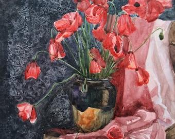 Poppy Flowers Still Life Watercolor