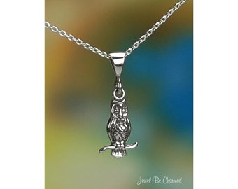 "Sterling Silver Owl Necklace with 16-24"" Chain or Pendant Only .925"