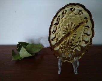 vintage amber dish with beautiful pattern