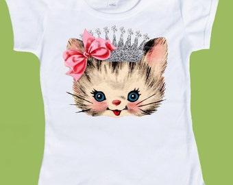 Girls Kitten shirt, SILVER Crown, Silver INK toddler T, Princess Kitten, Girls Birthday ,Baby Girls ,One Piece Baby, ChiTownBoutique.etsy