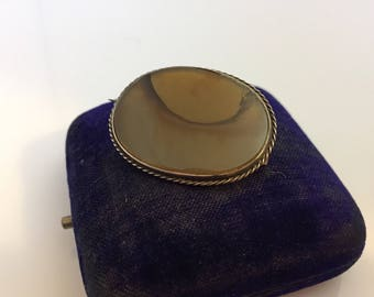 Victorian antique silver metal agate pin or brooch