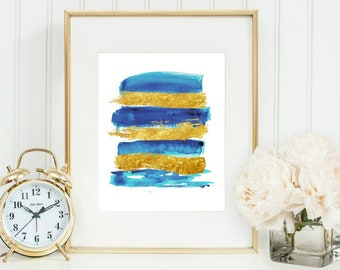 Abstract art PRINTABLE art instant download, Brushstroke art,Contemporary art,blue and gold abstract print,Bedroom art, Modern Art Print