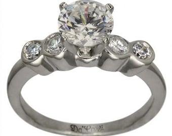 Engagement Ring 3/4 Carat Diamond With Bezel Set Side Diamonds 14K White Gold