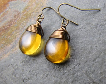 Topaz earrings glass teardrops, antique brass, wire wrapped earrings