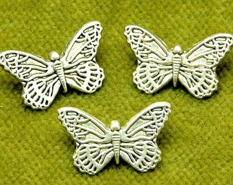 Matte Antique Silver Decorative Intricate Spring Summer Butterflys  I9