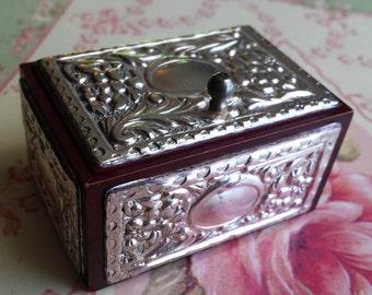 sterling Wood Trinket Box
