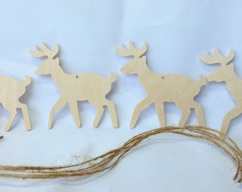 Deer, wooden ornaments, unfinished, DIY kit, Christmas Ornaments, set of 4