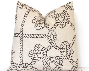 Brown and Tan Rope Designer Pillow Cover Accent Cushion Knots modern coastal cottage sailor resort summer ropes nautical cream neutral hemp