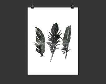 Feather Wall Art, Instant Download, Halloween printable wall art, Halloween decor, Halloween wall prints, Downloadable prints, Feathers