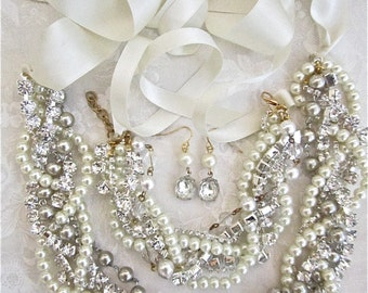 Wedding Jewelry Set, Chunky Pearl, Swarovski Rhinestone Necklace, Adjustable Ribbon Wedding Jewelry, Necklace, Bracelet, & Earrings Set