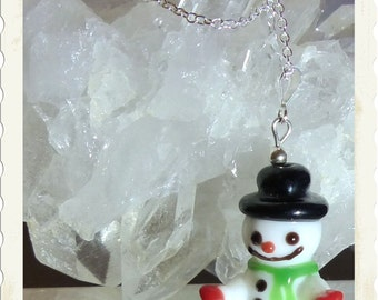 "Frosty Snowman Necklace -- 18"" Sterling Silver Chain -- Stocking Stuffer Gift Idea --Winter Fun"