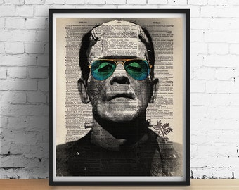 Cool FRANKENSTEIN Sunglasses Hipster Dictionary Art Print Poster Halloween Monster Vintage Dictionary Book Page Wall Decor