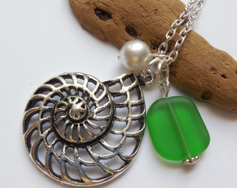 Kelly Green Sea Glass Necklace, Charm necklace, Pearl, Silver Nautilus, bridesmaid necklace, beach wedding.  FREE SHIPPING within the U.S.