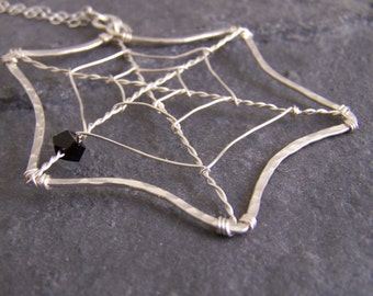Spider Web Necklace, Hammered and Spun, free shipping