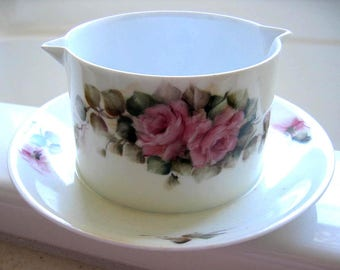 Roses, Hand Painted, Porcelain, Gravy, Sauce, Bowl, Boat, Kitchen, Shabby Chic