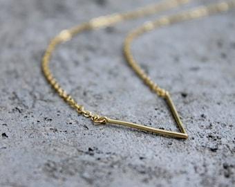 Little V Necklace // 16K Gold // Minimal Necklace // Chevron Layering Necklace // Geometric Necklace // Open V Necklace