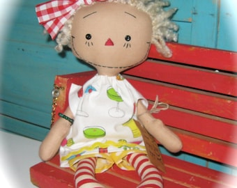 Primitive Raggedy Doll Rag Doll Enjoy LIve One of a Kind Handmade