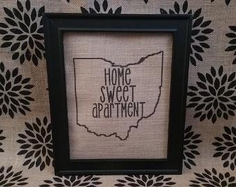 Ohio Home Sweet Apartment Burlap Sign