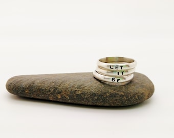 Let It Be stamped sterling silver stacked rings