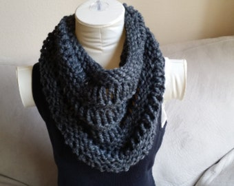 Chunky Charcoal Grey Knitted Cowl Infinity Scarf