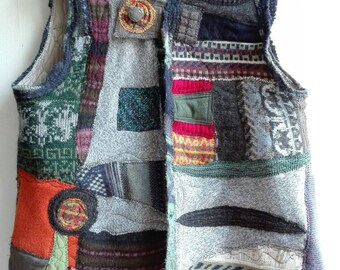 Upcycled clothing, plus size, unisex vest, Upcycled sweaters, recycled clothes, padded vest, wool vest, handmade, bohemian clothes, boho