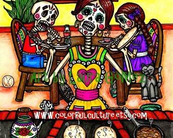 """Hora del Desayuno!/ Breakfast Time!""""-Art Print by LAURA GOMEZ-8""""-Day of the Dead-Dia de los Muertos Kitchen-Mexican Folk Art-Sugar Skulls"""